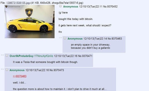 Buying a Lambo with Bitcoin in 2013