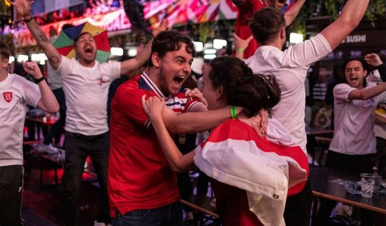 England fans go wild as 'absolutely glorious' Euro 2020 win over Denmark 'lifts the nation