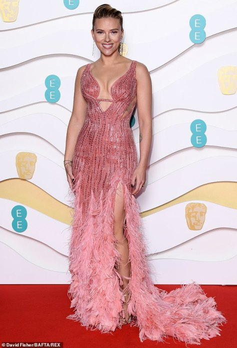 Mom-of-two: Scarlett poses at the BAFTAs red carpet in February last year