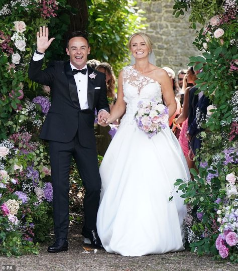 The day before: Ant and his former PA Anne-Marie tied the knot at Heckfield in Hampshire on Saturday in a lavish, star-studded ceremony