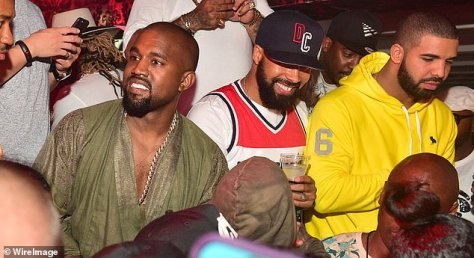 Going south: Drake and Kanye's feud began as early as 2016, but it escalated in 2018 when Drake came to believe Kanye was the one who told Pusha T about his son Adonis; seen together with Kenny Burns (center) in 2015 in Atlanta