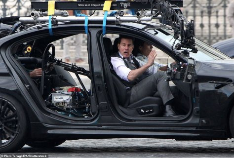On set: During his downtime, the screen star has also been pictured at several big events including Wimbledon and the Silverstone Grand Prix (pictured above on set of the upcoming Mission Impossible film in 2020)