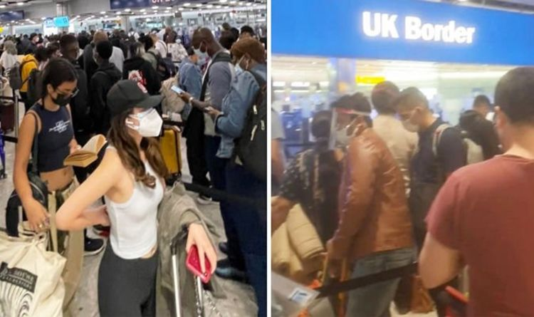 Heathrow airport chaos as passengers queue for 'five hours' With 'no social ditancing'