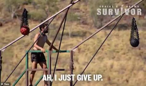 Not impressed: The self-proclaimed 'King of Bankstown', 31, sparked backlash after throwing in the towel halfway through both Monday and Tuesday's immunity challenges