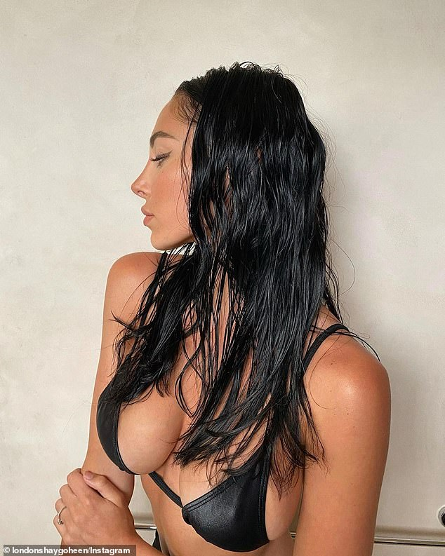 Hot to trot:  London shared a series of pictures on Instagram and stares off camera in the racy shots, with her fans and followers loving the images
