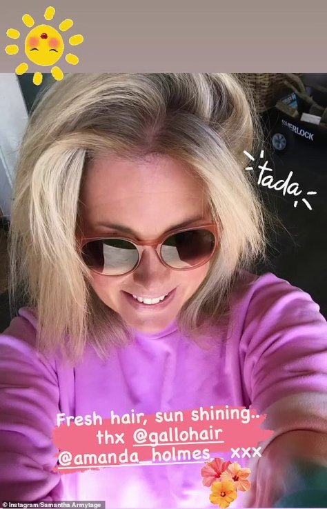 Battling greys: Samantha Armytage isn't going down without a fight, with the 44-year-old revealing she performed an at-home hair dye job on Tuesday