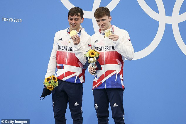Finally: The British sportsman broke down in tears as he and diving partner Matty Lee triumphed in the 10m synchronized platform event on Monday - his first gold medal in four Olympic games (pictured July 26)