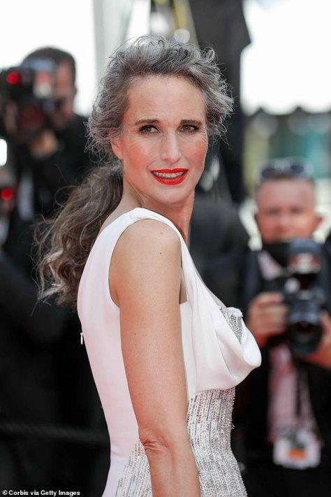 Ageing gracefully: She then went on to praise Andie MacDowell (pictured) for her 'brave' choice to embrace her natural grey curls on the Cannes red carpet last month