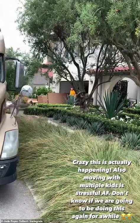 A sad goodbye: Roper posted this, among other videos, wishing a fond farewell to the family's previous home