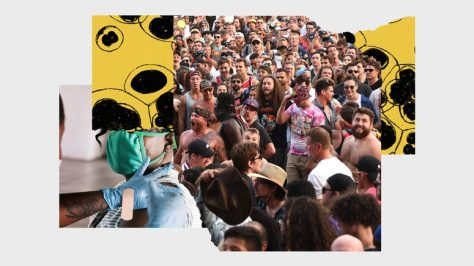 Collage of images of unmasked crowd, person receiving vaccine shot, and virus