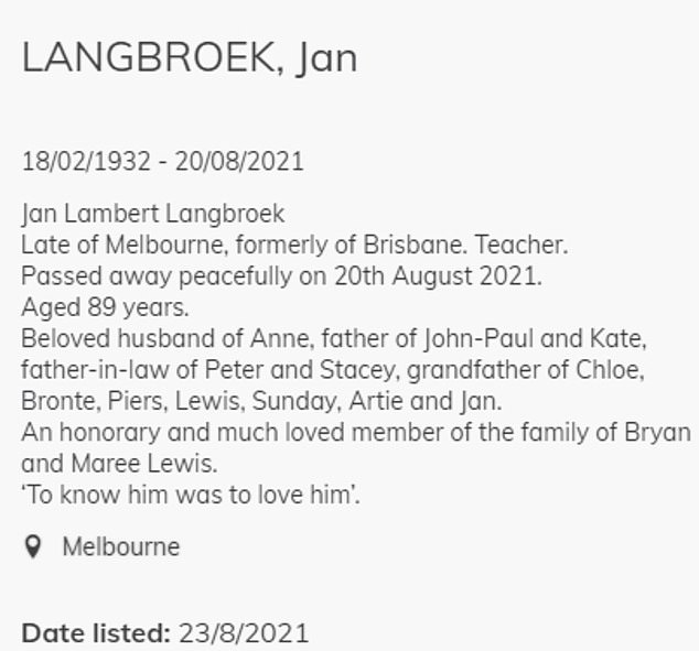Notice:He died peacefully on Friday, according to a death notice inthe Herald Sun