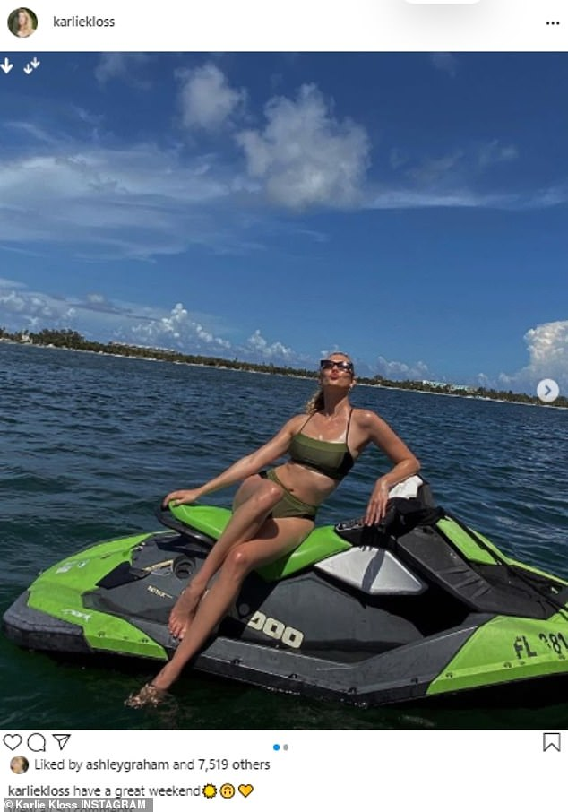 Babe:Karlie Kloss took to Instagram ahead of the weekend to show off her dynamite figure in a dark green bikini, as she sat and posed on a lighter green jet ski