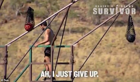 'Ah, I just give up': The castaways were challenged on Monday's episode to take part in an above-water obstacle course, but George gave up after realising how high the platform was