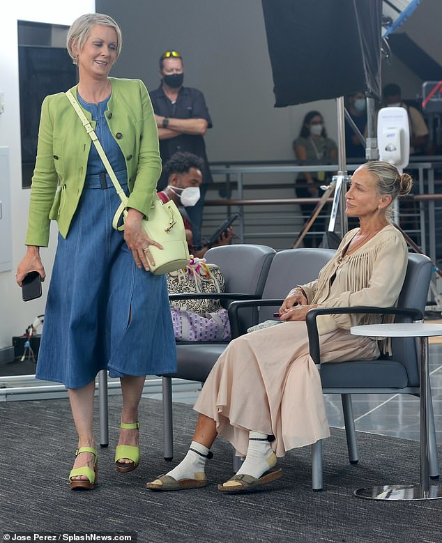 Shooting: Sarah Jessica Parker traded her Sex And The City character Carrie Bradshaw's usual glam for a more natural look on set of And Just Like That... with Cynthia Nixon on Tuesday