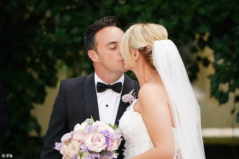 Loved-up: During his speech at their reception Ant said of his new wife Anne-Marie, 'This beautiful woman saved my life'