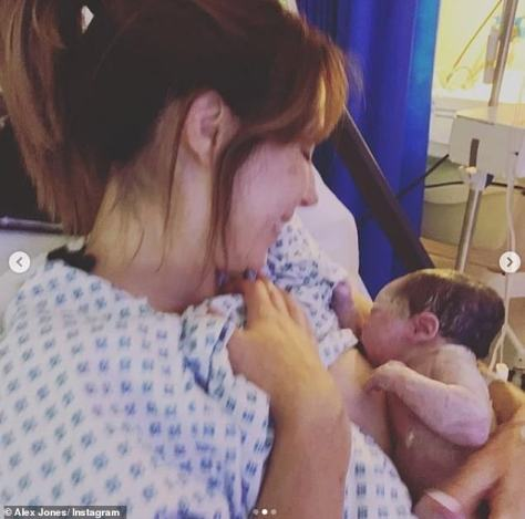 Sweet:To accompany the post, Alex shared a slew of snaps, and looked radiant in one image as she breastfed her baby daughter
