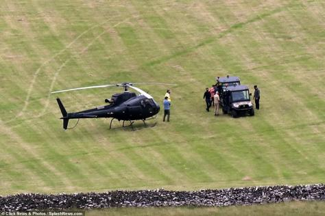 Big scene: A Peak District photographer, who captured the remarkable moment, told The Derbyshire Times that Tom flew to the site via his helicopter