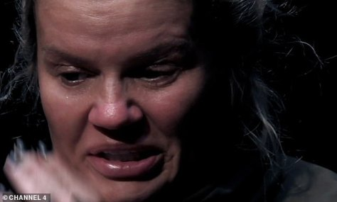 Pained:Kerry Katona broke down while discussing her late husband George Kay on Sunday night's Celebrity SAS: Who Dares Wins