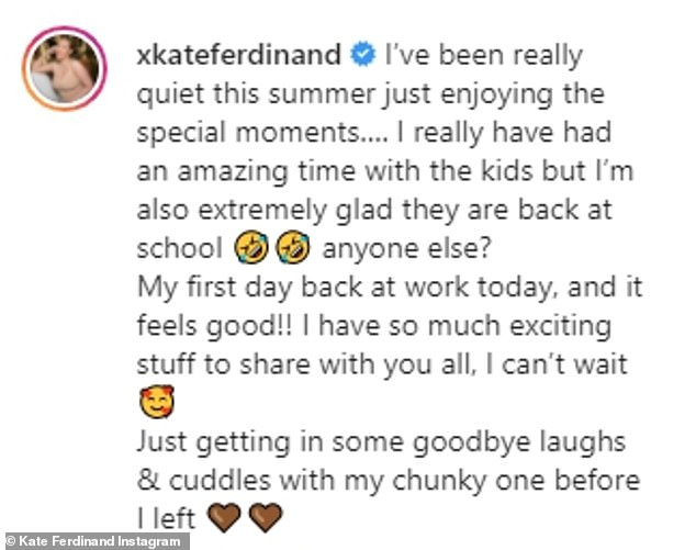 Honest:Taking to Instagram on Thursday to share the sweet moment, the media personality, who is also step-mum to Rio's children Lorenz, 15, Tate, 13 and Tia, 10, told her followers she has been enjoying the 'special moments' this summer