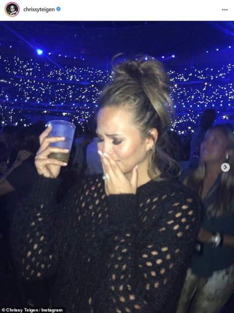 'Drunk crying': In February she shared a photo of herself 'drunk crying' at Beyonce