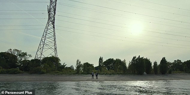 River:The trailer opens with a shot of Mike McLusky (Jeremy Renner) and Mitch McLusky (Kyle Chandler), both in black suit, looking over a river