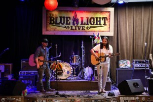 Austin McManus and Dave Martinez at The Blue Light. Photograph by Susan Marinello/New Slang
