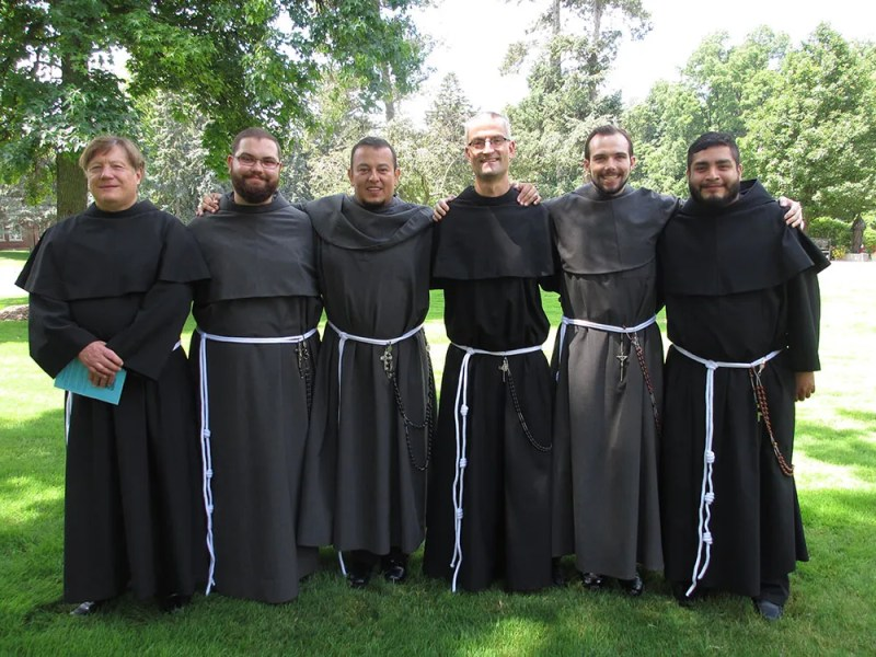 Our Lady of the Angels Province friar Jose Maria (Jorge) Lindo (third from left) with his confreres of the Simple Profession Class of 2015. Note they all have knotted cords now that they have completed their Novitiate year, Professed their Simple Vows of Poverty, Chastity and Obedience and are moving onto the Post-Novitiate stage of Formation!
