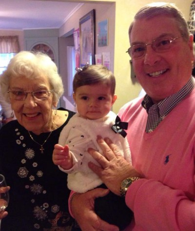 Bishop Hartmayer cites his parents and the priests he encountered as a young man as influencing his vocation. Here, he is pictured with his mother Sally, and a niece, on Mothers' Day 2014.
