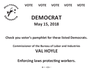 Look for these listed Democrats in the Voters' Pamphlet. Val Hoyle for Commissioner of Labor and Industries - Enforcing Laws, Protecting Workers.