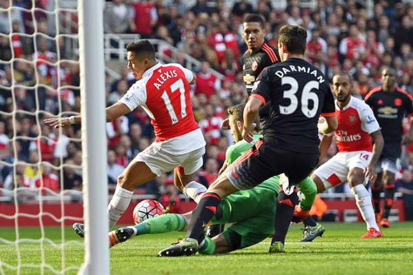 Sanchez netting the first goal for Arsenal