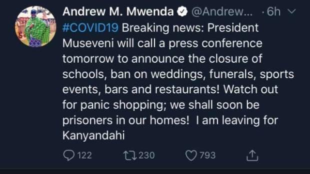 Andrew mwenda on corona virus