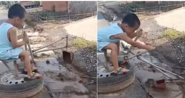 Smart Boy Operates Locally Made Excavator, Packs Dirt From Gutter - Netizens Shockingly Reacts