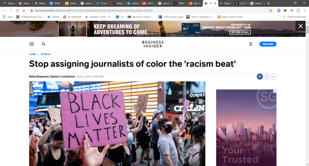 """Business Insider article with headline """"Stop assigning journalists of color the """"racism beat'."""""""