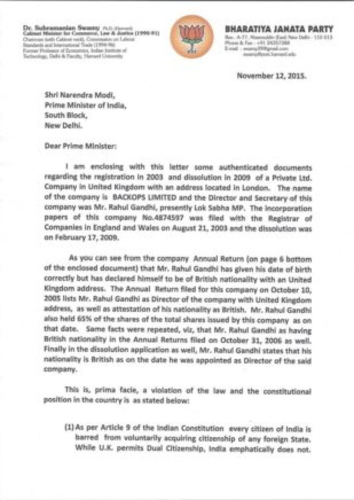 Subramanian-Swamys-letter-to-PM-on-Nov-12-2015-on-Rahul-Gandhi s-British-citizenship-and-British-company-page-001