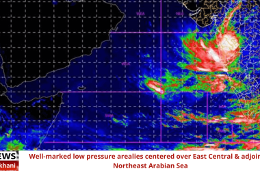 Well-marked low pressure area lies centered over East Central & adjoining Northeast Arabian Sea