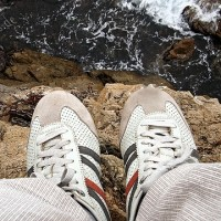 shoes on cliff