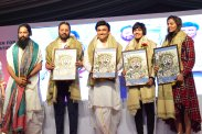 photo-3-geeta-babita-phogat-being-felicitated-matru-trust-founder-mla-dr-sudhakar-akshar-yoga-founder-grand-master-akshar-seen-in-the-pic