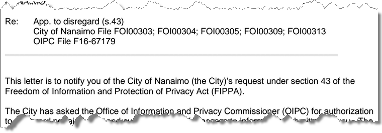 Part of the section 43 notice from BC's Office of the Information and Privacy Commissioner
