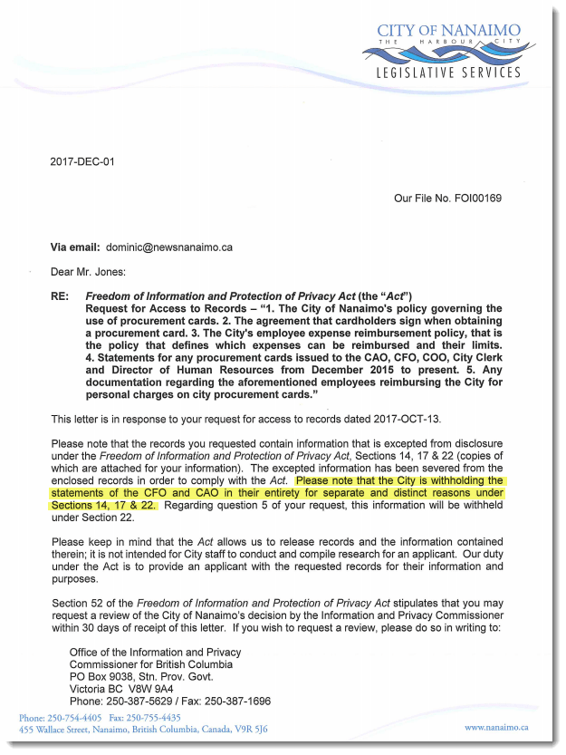 Letter denying access to Ms. Samra and Mr. Mema's credit card statements