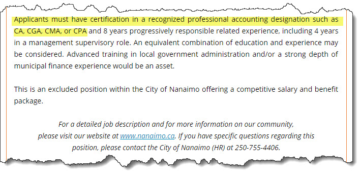 The city's job ad