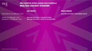 PSL 5 Matches in Multan Cricket Stadium
