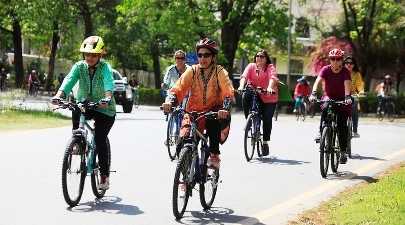 Women cycle race organized in Lahore
