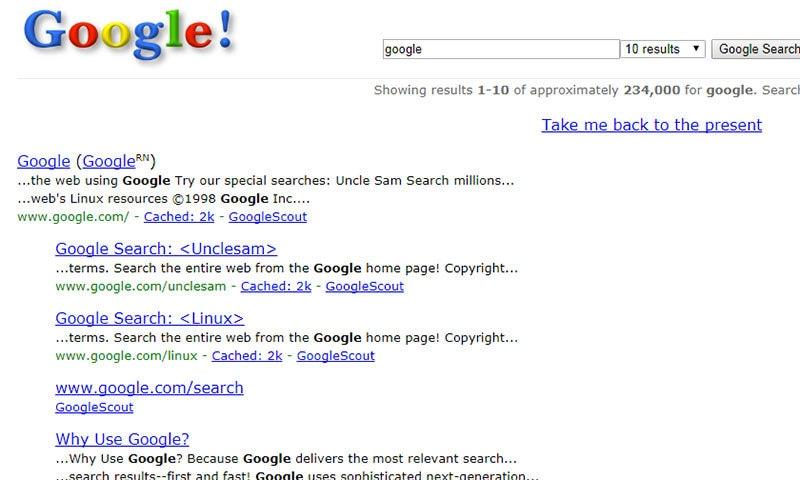 Google in 1998 - Google tips & tricks