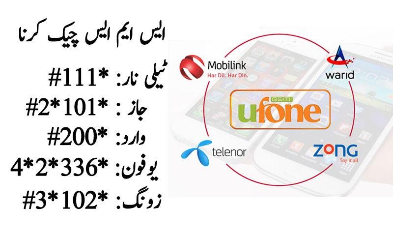 Telenor, Ufone, Warid, Zong, Jazz Sms check code