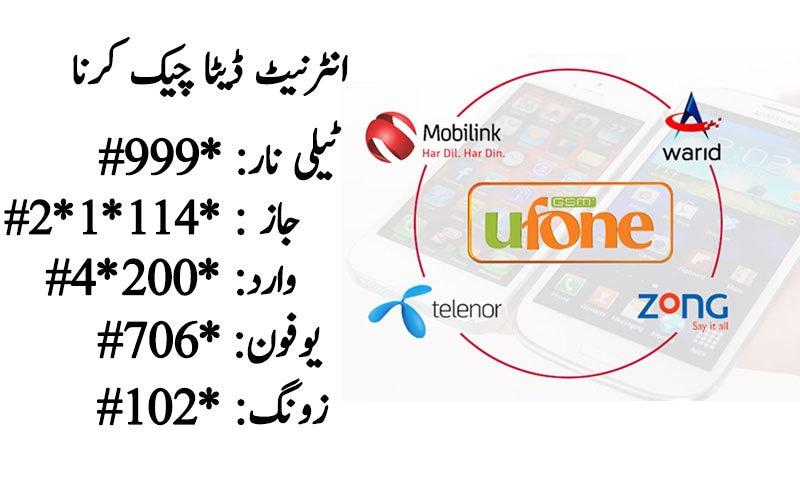 Telenor, Ufone, Warid, Zong, Jazz sim number check code
