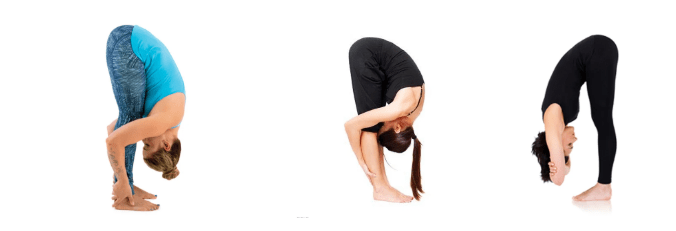 Standing forward bend yoga pose to reduce migraine pain