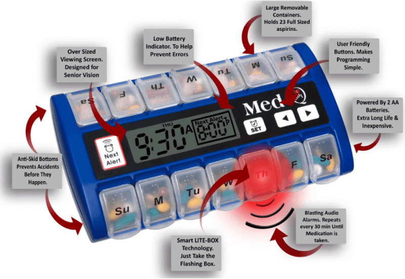 Pill organizers with alarms