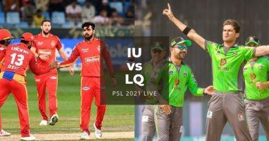 Watch PSL 2021 Live Stream Islamabad United vs Lahore Qalandars, match no 20