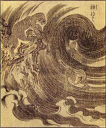 竹原春泉画『絵本百物語』に「かみなり」の題で描かれた雷獣