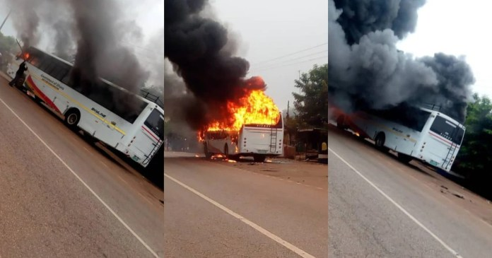 University of Energy & Natural Resources bus with students catches fire